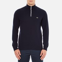 Lacoste Men's Half Zip Funnel Neck Sweatshirt Navy Blue Silver Chine