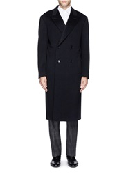 Canali Double Breasted Wool Cashmere Coat Blue