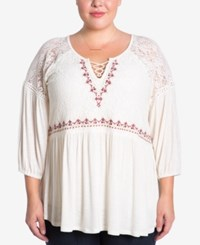 Eyeshadow Trendy Plus Size Embroidered Lace Top Pristine