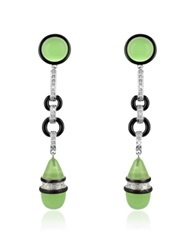 A Z Collection Jade Drop Clip On Earrings Green