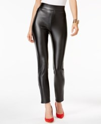 Thalia Sodi Faux Leather Coated Pull On Pants Only At Macy's Deep Black