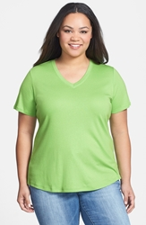Sejour Short Sleeve V Neck Tee Plus Size Green Papyrus