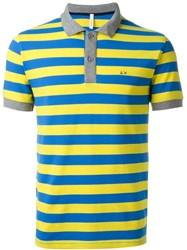 Sun 68 Striped Collar And Cuff Detail 'Righe' Polo Shirt Yellow And Orange