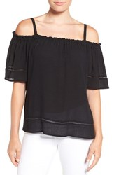 Gibson Women's Ladder Stitch Detail Off The Shoulder Top Black