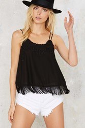 Well Thread Fringe Cami Top Black