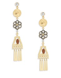 Gerard Yosca Coin And Stone Drop Earrings Brown