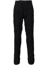 Devoa Leather Trim Trousers Blue