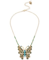 Betsey Johnson Gold Tone Blue And Green Stone Butterfly Collar Necklace