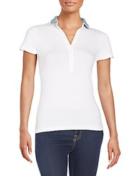 Peserico Contrast Trimmed Polo Shirt White