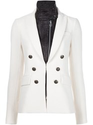 Veronica Beard Band Collar Blazer White