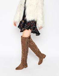 Truffle Collection Orla Fringe Over The Knee Boots Taupe Suedette Beige