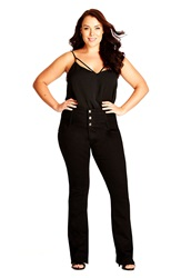 City Chic 3 Button Bootcut Jeans Black Plus Size