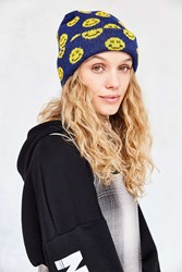 Urban Outfitters Smile Beanie Blue