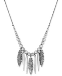 Lucky Brand Silver Tone Feather Fringe Long Length Pendant Necklace