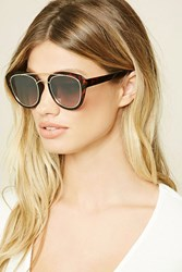 Forever 21 Mirrored Cat Eye Sunglasses Brown Grey