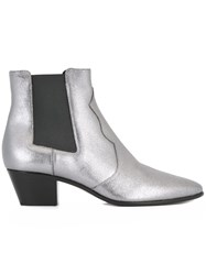 Saint Laurent 'Rock 40' Western Ankle Boots Metallic