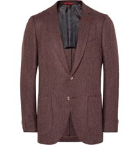 Isaia Burgundy Slim Fit Herringbone Wool And Cashmere Blend Blazer Burgundy