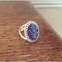 Zt Royal Blue Druzy Ring Sterling Silver