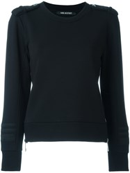 Neil Barrett Stretch Lateral Zip Sweatshirt Black