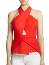 Bcbgmaxazria Remmie Open Back Peplum Halter Top Bright Poppy
