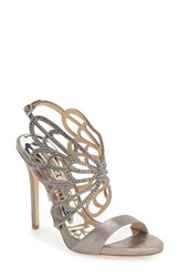 Badgley Mischka Women's Badgely 'Newlyn' Embellished Sandal Pewter Metallic Suede