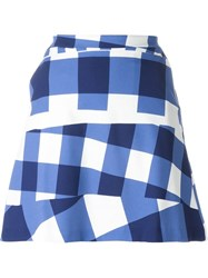 Etre Cecile Gingham Checked Mini Skirt Blue
