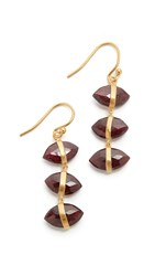 Chan Luu Three Stone Earrings Garnet