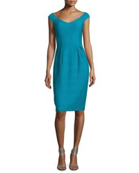 Nanette Lepore Off Shoulder V Neck Textured Sheath Dress Blue Tide