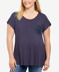Motherhood Maternity Plus Size Lace Trim T Shirt Navy