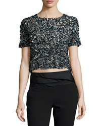 Haute Hippie Mosaic Sequin Embellished Crop Top Size M Multi Colors