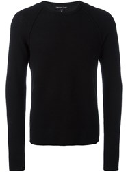 James Perse Waffle Knit Crew Neck Sweater Black