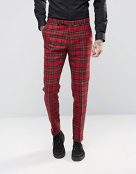 Noose And Monkey Woven In England 100 Wool Tartan Trousers In Skinny Fit With Turn Up Red