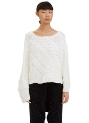 Baja East Cable Knit Boat Neck Sweater White