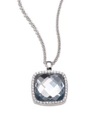 Roberto Coin Cocktail Blue Topaz Diamond And 18K White Gold Pendant Necklace