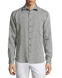 Neiman Marcus Linen Chambray Long Sleeve Button Front Shirt Black