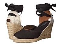 Soludos Tall Wedge Linen Black Women's Wedge Shoes