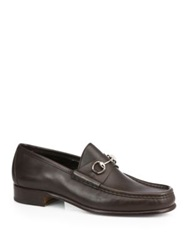 Gucci Leather Moccasin Loafer Dark Brown