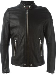 Diesel Zip Leather Jacket Black