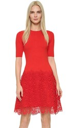 Lela Rose Lace Hem Knit Dress Red