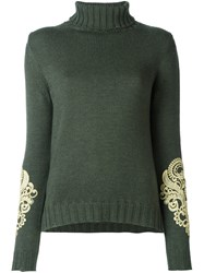 P.A.R.O.S.H. Embroidered Turtleneck Sweater Green