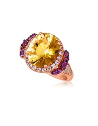 Le Vian 14K Strawberry Gold Cinnamon Citrine Ring With Raspberry Rhodolite And White Topaz Citrine Rose Gold