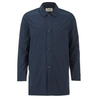 Folk Men's Mid Length Buttoned Jacket Navy Blue