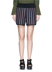 Sacai Stripe Grosgrain Trim Shorts Blue