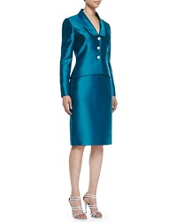 Albert Nipon Ls Jewel Bttn Pplm Skirt Sui Teal