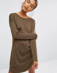 Daisy Street Long Sleeve T Shirt In Rib Khaki Green
