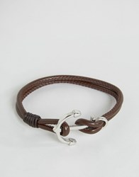 Seven London Anchor Leather Bracelet In Brown Brown