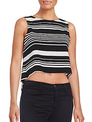 Saks Fifth Avenue Red Striped Crop Top Black