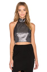 Twin Sister Halter Crop Top Metallic Silver