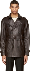 Burberry Brown Leather Trench Coat