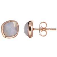 John Lewis Gemstones Agate Stud Earrings Rose Gold Blue